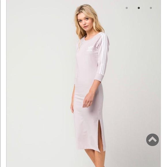 adidas Dresses & Skirts - ADIDAS 3 Stripes Midi Dress Lavender